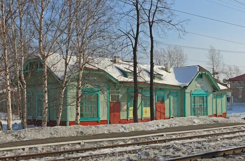 Вокзал станции Подволошная Свердловской железной дороги. Не сохранился. Фотограф Д. Соболев