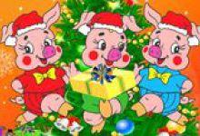 Три поросенка открытка новогодняя