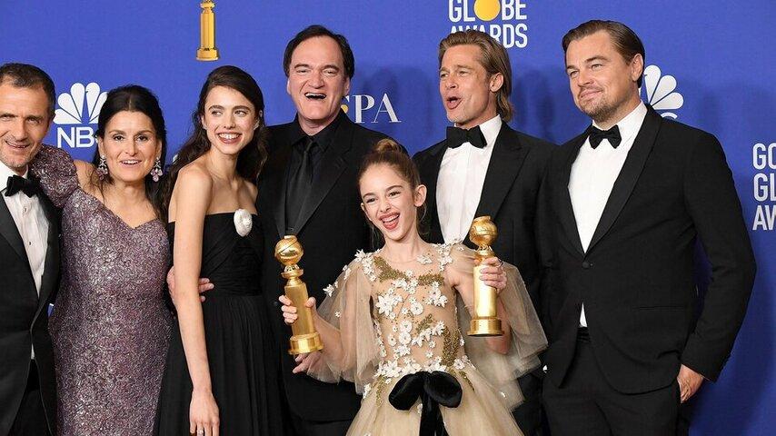 Тарантино и актеры «Однажды в Голливуде». Фото с сайта imd.com