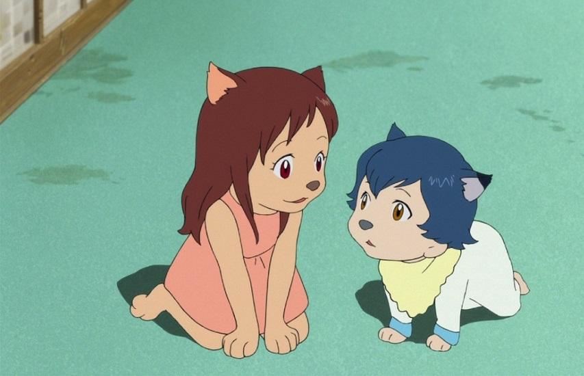 Кадр из мультфильма «Волчьи дети Аме и Юки»