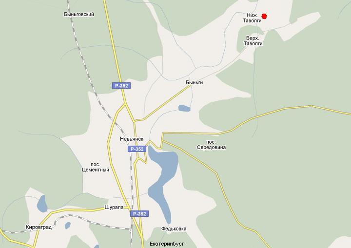 Фрагмент карты Google