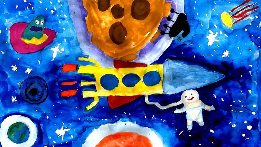 Дети рисуют Космос. Фото с сайта vsluh.ru