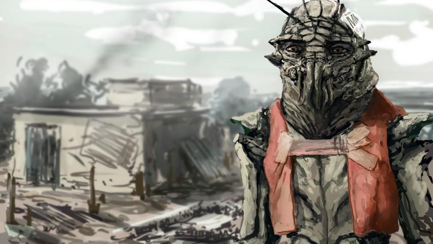 Нарисованный инопланетянин из фильма «Район № 9». Изображение с сайта joyreactor.cc