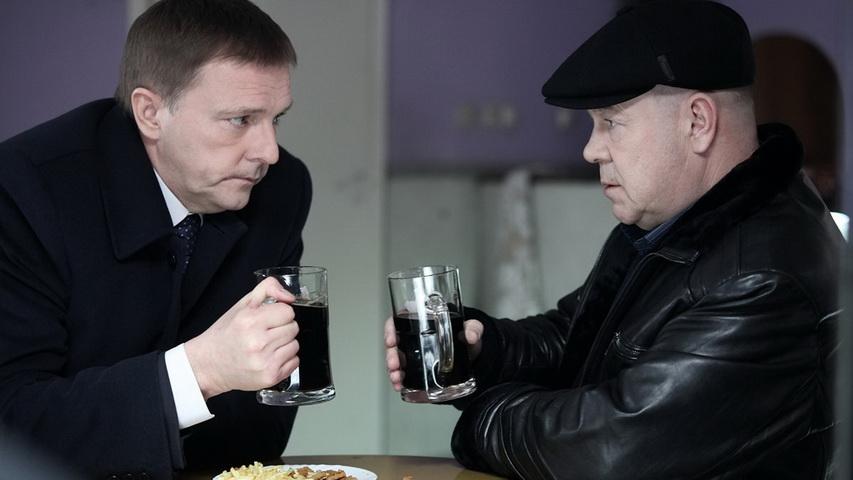 Алексей Нилов и Сергей Селин на съемках сериала «Лучшие враги»