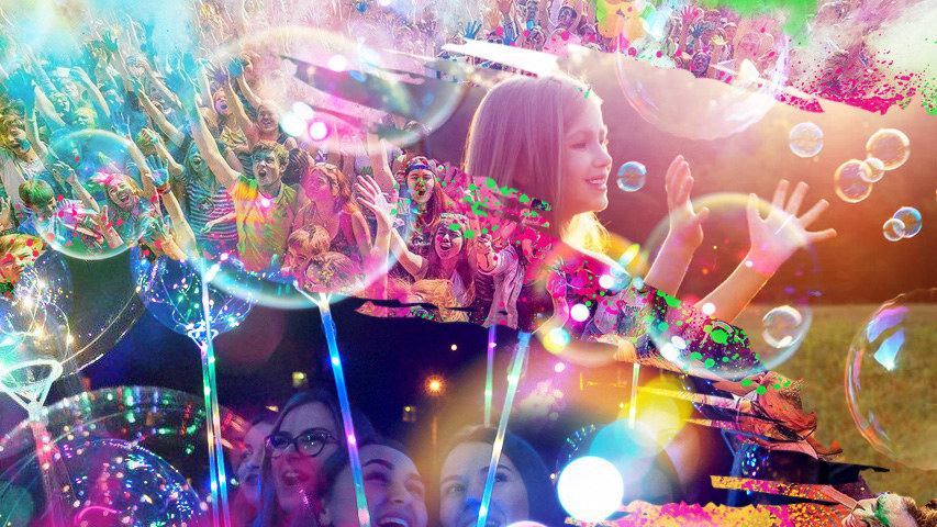 Фестиваль мыльных пузырей, Всероссийский фестиваль красок, Фестиваль волшебных шаров 15 июня в парке Таганская слобода от арт-проекта «Вместе Зажигаем». Коллаж © Weburg.net