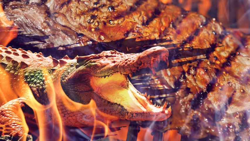 Капчо Бар, зарекомендовавший себя крутыми BBQ-пати, предлагает в пятницу что-то по-настоящему новое, а именно барбекю-вечеринку с шашлыком из крокодила Коллаж © Weburg.net