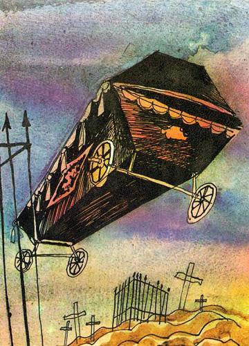 Гроб на колесиках. Иллюстрация к повести Эдуарда Успенского «Красная рука, черная простыня, зеленые пальцы»