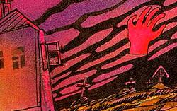 Красная рука. Иллюстрация к повести Эдуарда Успенского «Красная рука, черная простыня, зеленые пальцы»